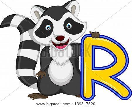 funny raccoon cartoon posing for you design