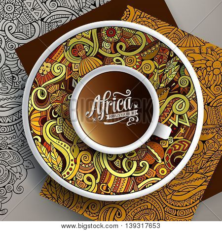 Vector illustration with a Cup of coffee and hand drawn Africa doodles on a saucer, on paper and on the background