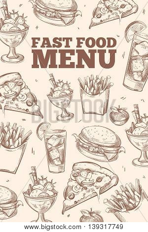 Fast food doodles vector background. Pattern with fast food pizza and hamburger, backdrop fast food for menu illustration