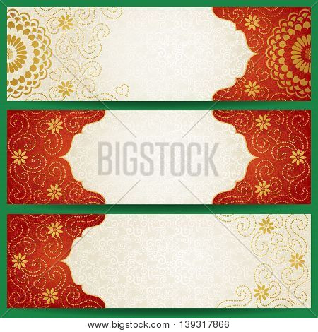 Vintage cards with flowers and curls. Background vector card design. Template frame design for greeting card and wedding invitation. Ornate vector border in east style. Place for your text.