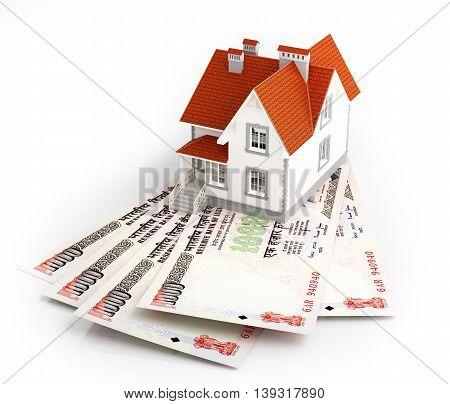Indian rupee banknotes under house. 3d illustration.