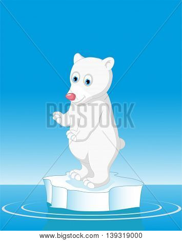 funny polar bear standing with snow mountain landscape background