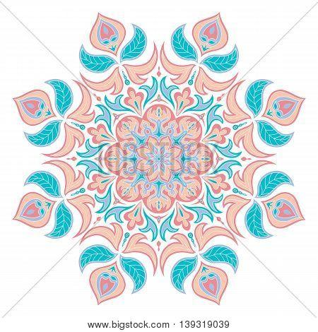 Vector Mandala. Oriental decorative element. Islam Arabic Indian turkish pakistan chinese ottoman motifs. Ethnic design elements. Hand drawn mandala. Monochrome contour mandala for coloring.