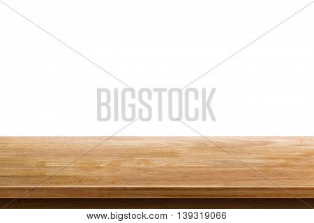 empty wooden table top isolated on white background used for display or montage your products