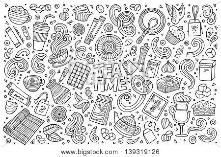 Line art vector hand drawn doodle cartoon set of tea and coffee theme items, objects and symbols