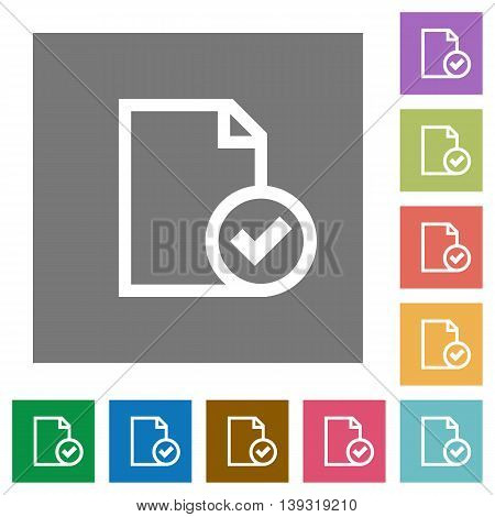 Document accepted flat icon set on color square background.