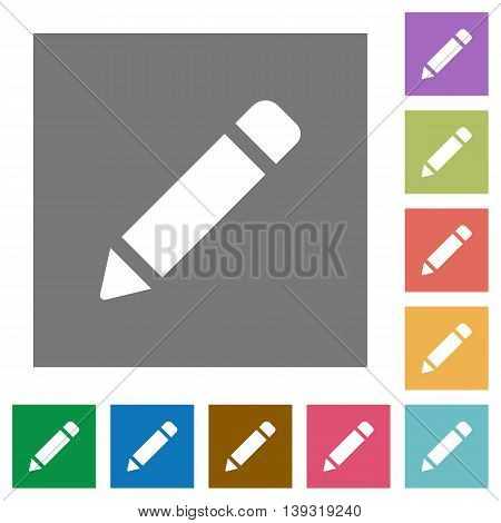 Pencil flat icon set on color square background.