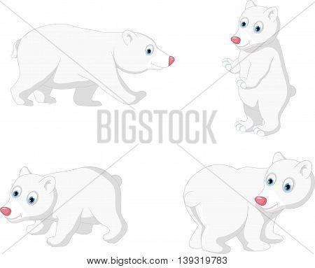 collection of cute polar bear cartoon set character