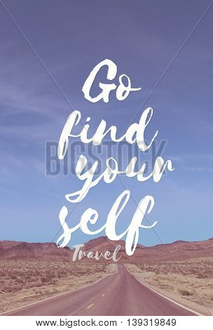 Travel Quote with american highway in the desert