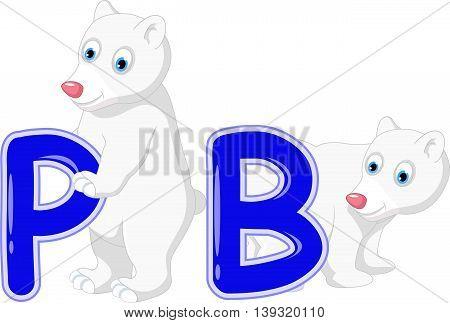 funny two polar bear cartoon holding P and B alphabet