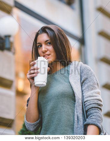 Woman With Take-away Coffee