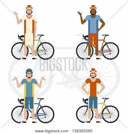 Vector image of the set of cyclists