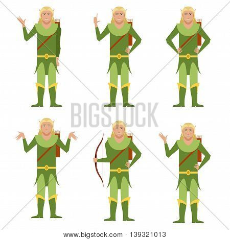 Vector image of the set of forest fantasy elves