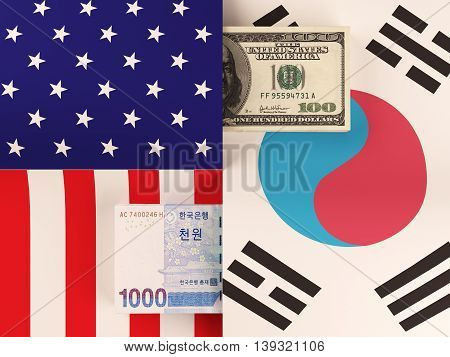 Money transfer between United States and South Korea. 3d rendering.