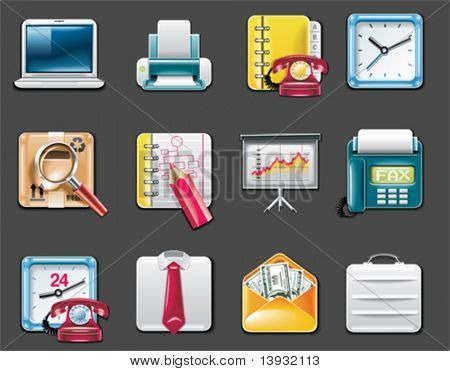 Vector universal square icons. Part 9. Business and office (gray background)