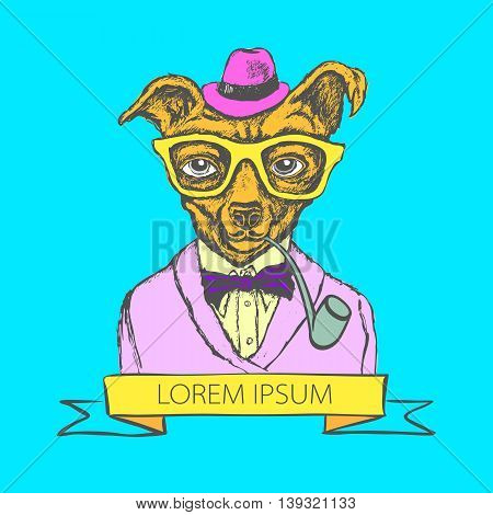 Hand Drawn Fashion Illustration Of Doggy Hipster In Colors Vector