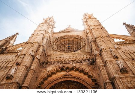 La Seu the gothic medieval cathedral of Palma de Mallorca Spain. The Cathedral of Santa Maria of Palma