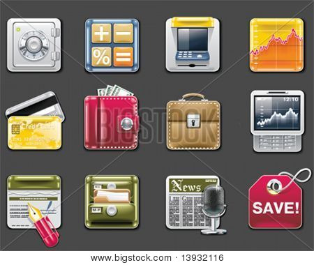 Vector universal square icons. Part 6. Banking (gray background)