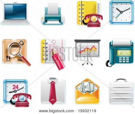 Vector universal square icons. Part 9.  Business and office (white background)