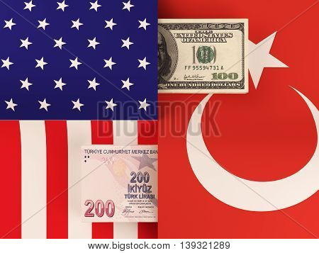 Money transfer between United States and Turkey. 3d rendering.