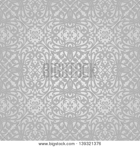 Vector seamless pattern with swirls and floral motifs in retro style. Grey Victorian background. It can be used for wallpaper pattern fills web page background surface textures.