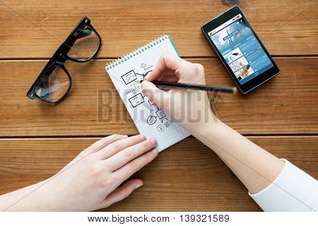 mass media, business, planning and people concept - close up of woman or student drawing scheme in notepad with pencil and eyeglasses with world news on smartphone on wooden table