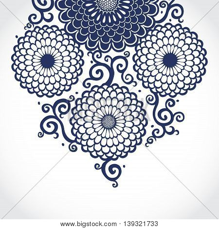 Contrasting pattern with large flowers and curls. Blue floral background. It can be used for decorating of wedding invitations greeting cards decoration for bags and clothes.