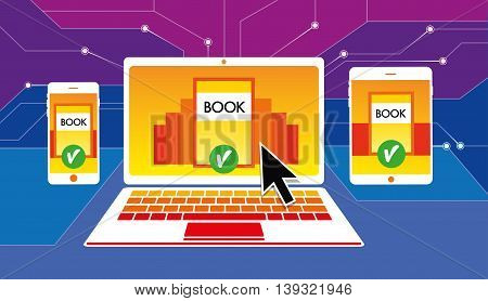 Online bookstore anywhere any device. Library in any device. Education. Vector pattern