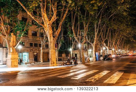 Palma de Mallorca Spain - May 29 2016: Night view of La Rambla street at the heart of Palma de Mallorca Spain