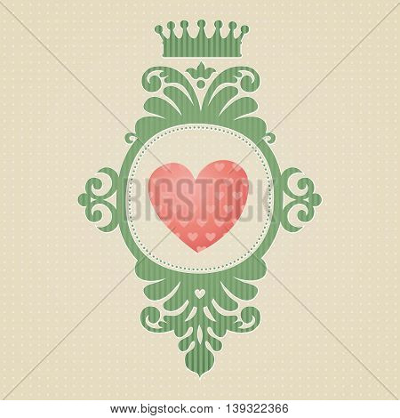 Coat of arms with heart on light seamless background. Vector baroque frame in Victorian style. Element for design. It can be used for decorating of invitations cards decoration for bags and clothes.