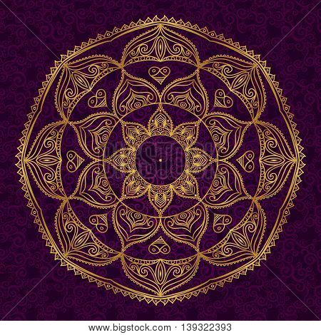 Abstract vector circle ornament. Lace pattern design. Gold ornament on dark background. It can be used for decorating of wedding invitations greeting cards decoration for bags and clothes.