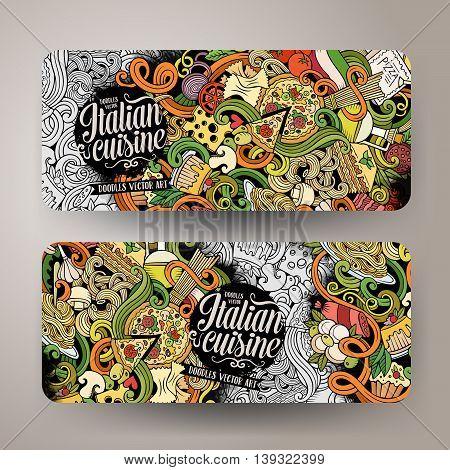 Cartoon cute vector hand drawn doodles italian food corporate identity. 2 horizontal line art banners design. Templates set