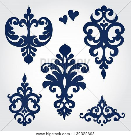 Vector set with baroque ornaments in Victorian style. Ornate element for design. It can be used for decorating of wedding invitations greeting cards decoration for bags and clothes.