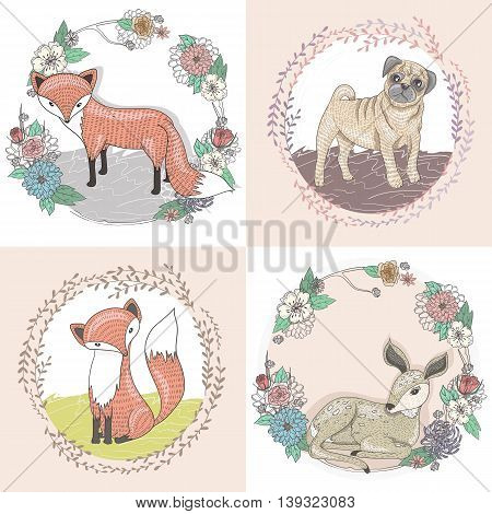 Cute little fox deer and pug illustration set in floral frames.