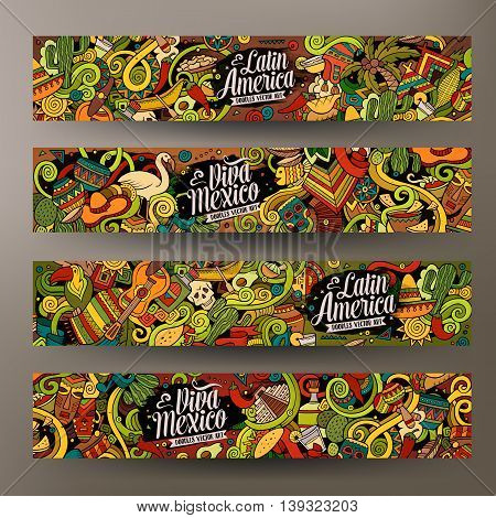 Cartoon cute colorful vector hand drawn doodles Latin America corporate identity. 4 horizontal banners design. Templates set