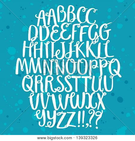 Hand drawn brush ink vector set with doodle curly elements. Including two types of letters . Lovely decorative font for your design.