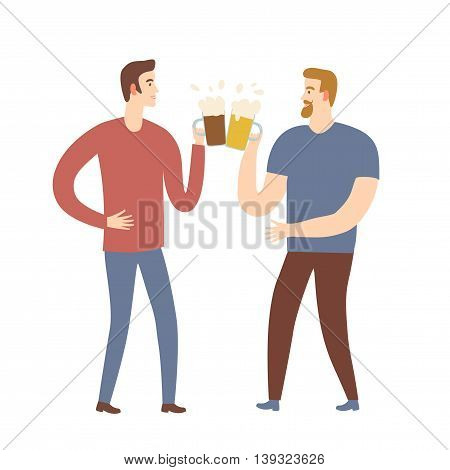 Isolated cartoon male friends with beer. Characters illustrations for your design.