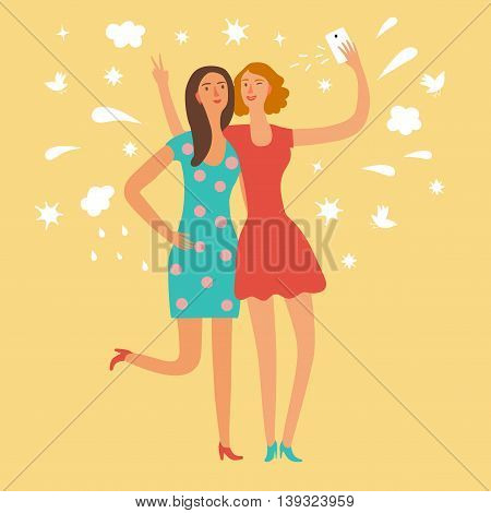 Cartoon girls friends making self photo. Including decorative background with clouds stars splash birds. Characters illustration for your design.