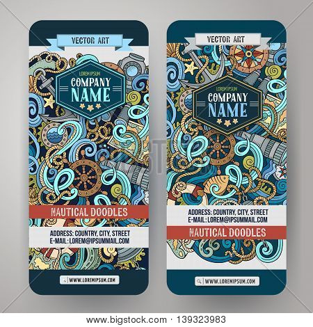Cartoon vector hand-drawn nautical doodle corporate identity. 2 vertical banners design. Templates set