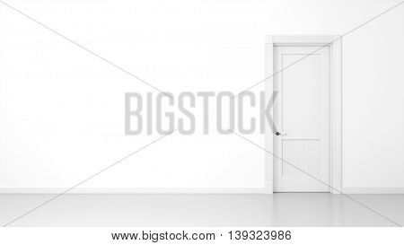 3D render of a white wall and a door in an empty flat with space for your content
