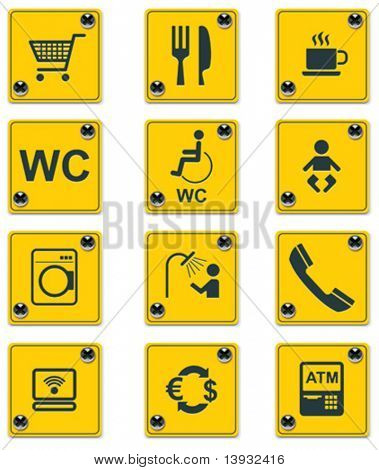 Vector roadside services signs icon set. Part 1