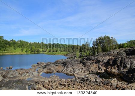 View In The River Naemforsen At Naesaaker In Sweden