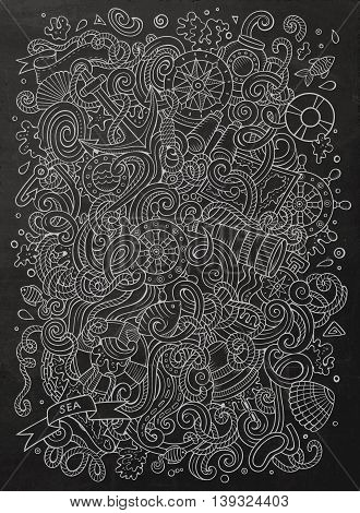 Cartoon cute doodles hand drawn marine illustration. Line art detailed, with lots of objects background. Funny vector artwork. Chalkboard picture with nautical theme items.