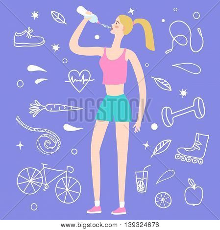 Cartoon girl drinking water after sports training. Including doodle decorative elements such as food sport equipment and health symbols. Healthy lifestyle illustration for your design.