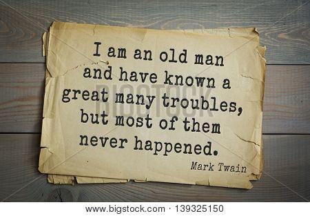American writer Mark Twain (1835-1910) quote.