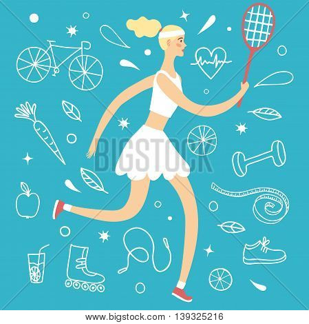 Cartoon girl playing tennis. Including doodle decorative elements such as food sport equipment and health symbols. Healthy lifestyle illustration for your design.