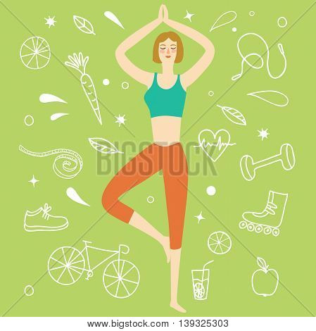 Cartoon girl doing yoga exercise. Including doodle decorative elements such as food sport equipment and health symbols. Healthy lifestyle illustration for your design.