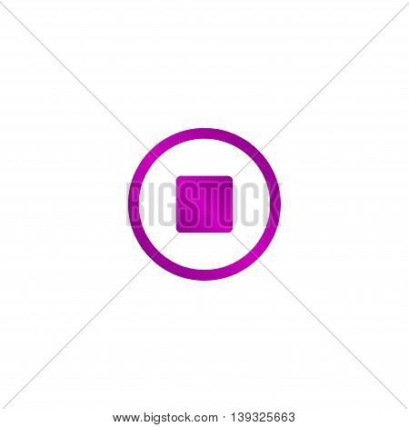 Glossy multimedia icon stop Vector EPS flat