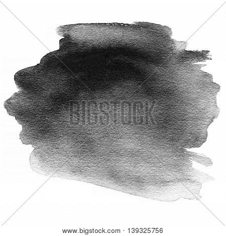 Abstract hand drawn watercolor background. Abstract ink spot textured background. Black Stain isolated over white. High resolution