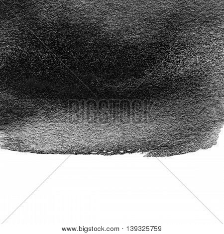 Abstract black watercolor texture. Hand painted ink spot. Black Stain isolated over white. High resolution